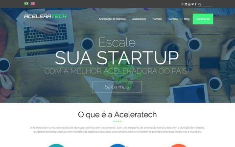Screenshot of Home Page aceleratech.com.br - Acelere sua startup com a melhor aceleradora do país - Aceleratech - captured Dec. 23, 2015