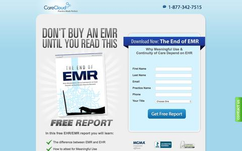 Screenshot of Landing Page carecloud.com - EMR Whitepaper, Don't Buy an EMR Until You Read This - captured May 24, 2016