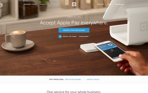 Screenshot of Home Page squareup.com - Credit Card Processing & Business Solutions | Square - captured June 19, 2015
