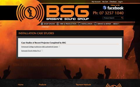Screenshot of Case Studies Page brisound.com.au - Installation Case Studies  - Brisbane Sound Group - captured Oct. 5, 2014