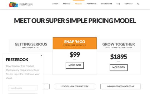 Screenshot of Pricing Page productimage.co.nz - Product Photography Pricing - New Zealand - captured Nov. 13, 2016