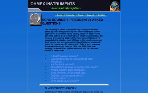 Screenshot of FAQ Page ohmex.com - ECHO SOUNDER - FREQUENTLY ASKED QUESTIONS - captured Oct. 7, 2014