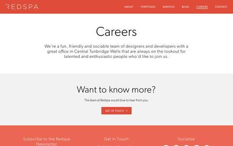 Screenshot of Jobs Page redspa.uk - Careers at Redspa - Tunbridge Wells | Redspa - captured Jan. 4, 2017