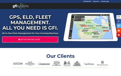 Screenshot of Pricing Page gfisystems.ca - GFI Systems - GPS, ELD, Fleet Management | GFI Systems - captured Sept. 26, 2018
