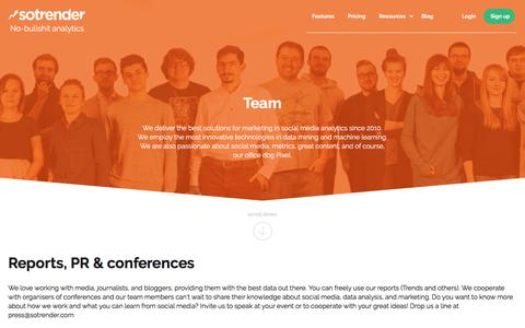 Screenshot of Team Page sotrender.com - Sotrender. No-bullshit analytics. Analyze and optimize your marketing over social media. - captured Sept. 21, 2018