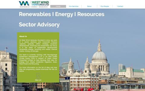 Screenshot of Home Page westwindventures.com - West Wind Ventures Ltd - captured Feb. 24, 2016