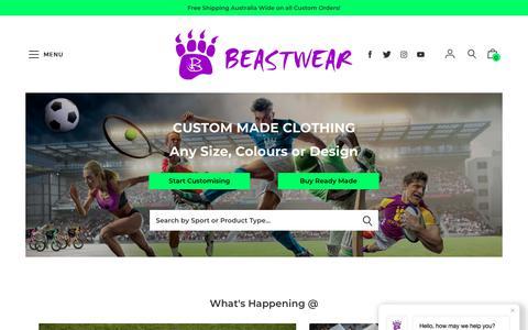 Screenshot of Home Page beastwear.com.au - Beastwear - Custom Made Uniforms & Sports Clothing - captured Nov. 6, 2018