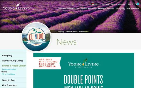 Screenshot of Press Page youngliving.com - Young Living News | Young Living Essential Oils - captured May 15, 2018