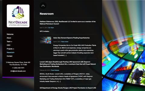 Screenshot of Press Page next-decade.com - Newsroom - captured Oct. 6, 2014
