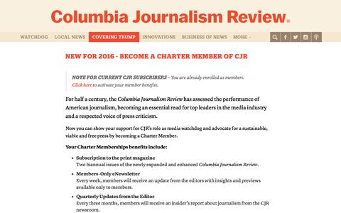 Screenshot of Signup Page cjr.org - New Member 1 - Columbia Journalism Review - captured May 21, 2017