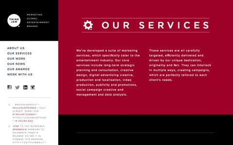 Screenshot of Services Page thinkjam.com - Think Jam - Services - captured Oct. 21, 2015