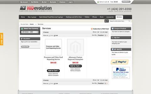 Screenshot of Services Page hidevolution.com - HIDevolution Services - captured Sept. 19, 2014