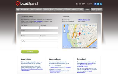 Screenshot of Contact Page leadspend.com - Contact LeadSpend About Email Hygiene - captured June 16, 2015