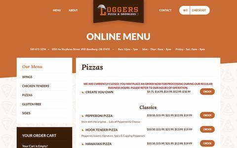 Screenshot of Menu Page loggerspizza.com - Order Online - Logger's Pizza - captured Nov. 10, 2016