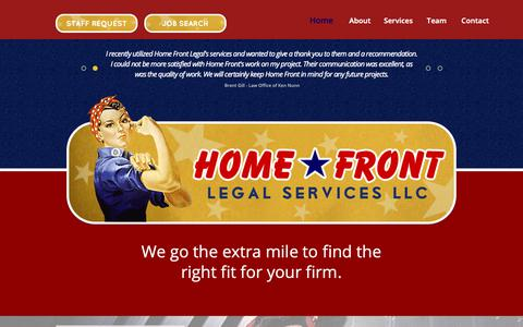 Screenshot of Home Page homefrontlegal.com - Experienced Attorneys, Paralegals, Legal Assistants and Law Clerks for Projects and Workload Managem - captured Sept. 29, 2018