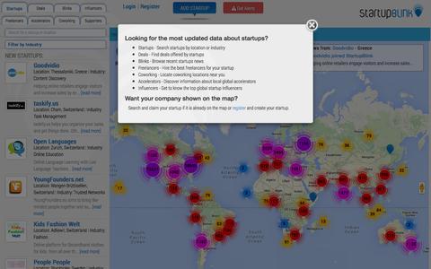 Screenshot of Home Page startupblink.com - Global Startup Map - captured Sept. 17, 2014