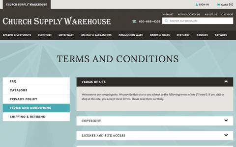 Screenshot of Terms Page churchsupplywarehouse.com - Terms & Conditions - captured Oct. 20, 2017