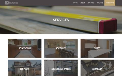 Screenshot of Services Page kennedyconstruction.ca - Services | Kennedy Construction - captured Jan. 9, 2016