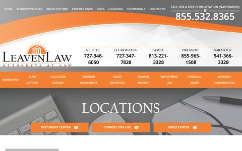 Screenshot of Locations Page leavenlaw.com - Offices | LeavenLaw | Florida Attorney - captured Sept. 27, 2018