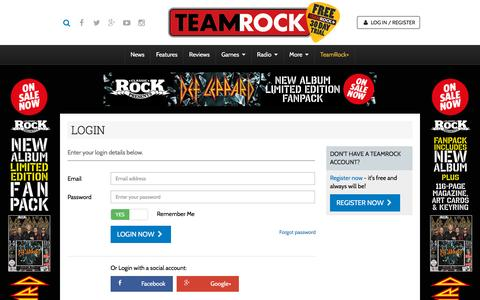 Screenshot of Login Page teamrock.com - TeamRock - captured Nov. 23, 2015