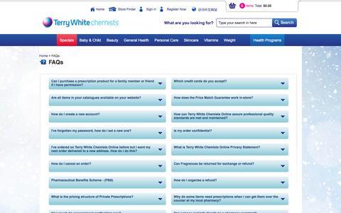 Screenshot of FAQ Page terrywhitechemists.com.au - Terry White Chemists - captured Dec. 15, 2016