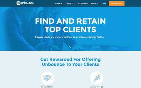 Screenshot of Landing Page unbounce.com - Unbounce Agency Partner Program - captured Nov. 18, 2016