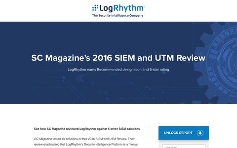 SC Magazine's 2016 SIEM and UTM Review | LogRhythm