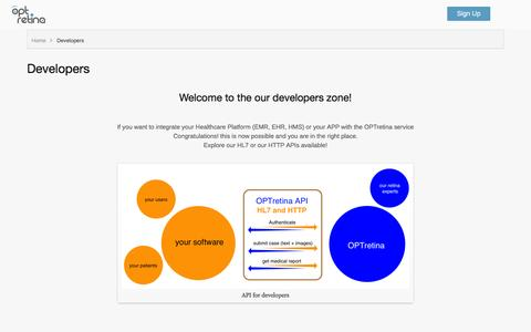 Screenshot of Developers Page optretina.com - Developers - captured Jan. 11, 2016