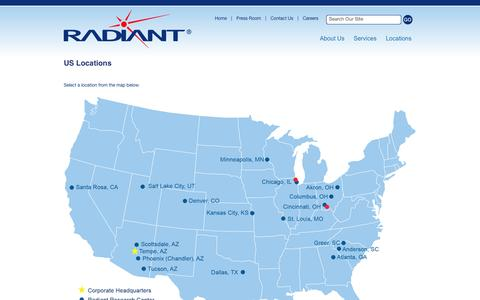 Screenshot of Locations Page radiantresearch.com - Radiant Research, Inc. - US Locations - captured Oct. 9, 2014