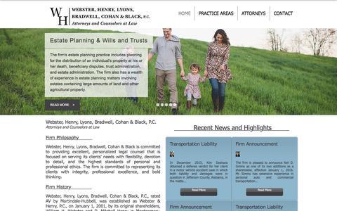 Screenshot of Home Page websterhenry.com - Webster, Henry, Lyons, Bradwell, Cohan & Black, P.C. - captured Feb. 17, 2016
