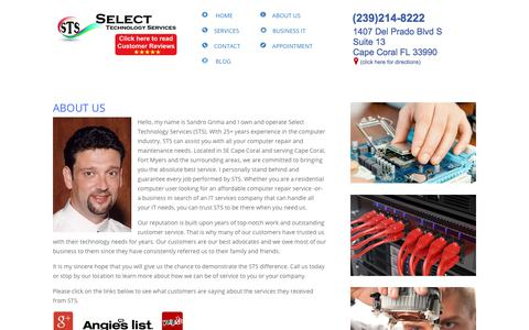 Screenshot of About Page stsforyou.com - PC Repair Cape Coral FL - STS computer repair - captured June 22, 2019