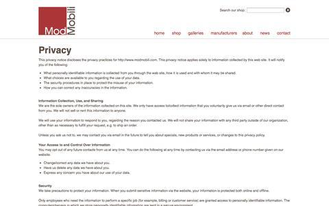 Screenshot of Privacy Page modmobili.com - ModMobili Privacy Policy | ModMobili takes your privacy seriously. - captured Oct. 9, 2014