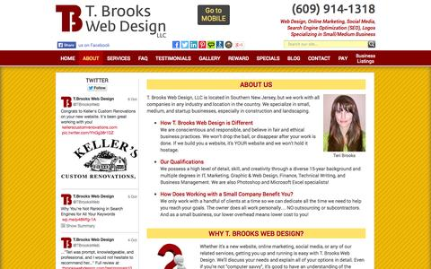 Screenshot of About Page tbrookswebdesign.com - T. Brooks Web Design LLC - Small Business Experts, One-on-One Service - captured Oct. 7, 2014