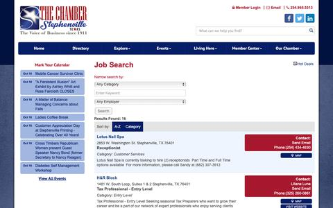 Screenshot of Jobs Page stephenvilletexas.org - Job Search - Stephenville Chamber of Commerce, TX - captured Oct. 19, 2018