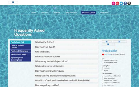 Screenshot of FAQ Page pacificpools.com - FAQ - Pacific Pools | In Ground Pools - captured Oct. 2, 2014