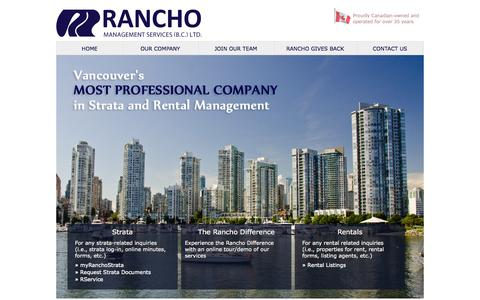 Screenshot of Privacy Page Contact Page Terms Page ranchovan.com - Rancho Management Services (B.C.) Ltd. - Strata and Property Management Services Vancouver - captured Oct. 22, 2014