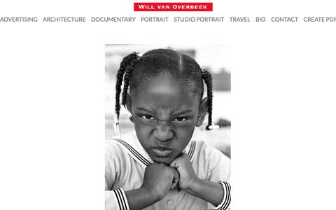 Screenshot of Home Page willvano.com - Will van Overbeek Photographer, Austin Texas commercial, portrait, editorial, advertising photography - captured Oct. 26, 2017