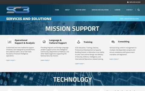 Screenshot of Services Page sc3.com - Services and Solutions - captured Oct. 1, 2018