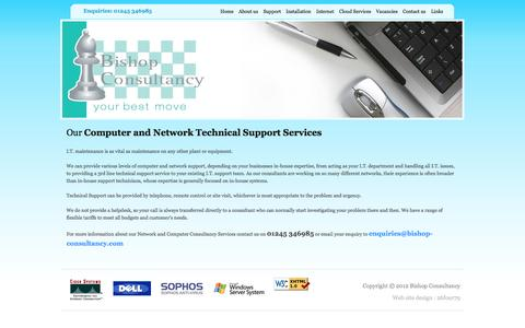Screenshot of Support Page bishop-consultancy.com - :: Computer and Network Technical Support Services by telephone, remote control or site visit :: - captured Oct. 5, 2014