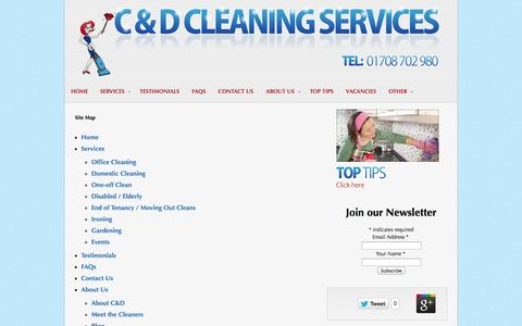Screenshot of Site Map Page domesticcleaning4u.com - C and D Cleaning Services | Site Map - captured Oct. 5, 2014