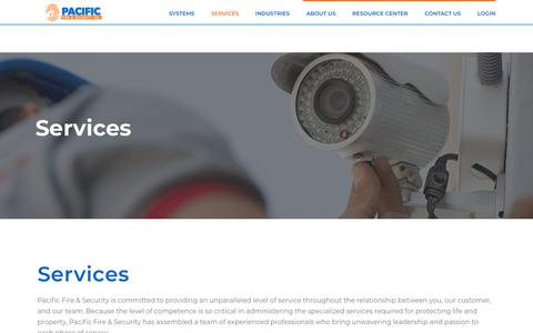 Screenshot of Services Page pacificfiresecurity.com - Services | Pacific Fire and Security - captured Sept. 26, 2018