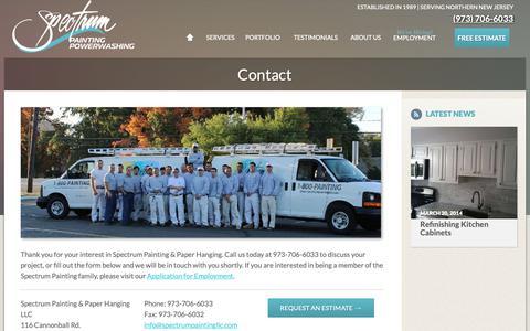 Screenshot of Contact Page spectrumpaintingllc.com - | | Spectrum Painting - captured Oct. 19, 2018