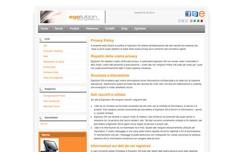 Screenshot of Privacy Page egolution.ch - Privacy - captured Oct. 3, 2014