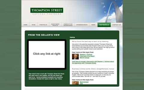 Screenshot of Testimonials Page tscp.com - Testimonials - Thompson Street Capital Partners – Private Equity Firm - captured Oct. 7, 2014