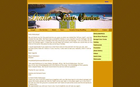 Screenshot of Testimonials Page diallotours.com - tours and travel agency senegal - captured Oct. 5, 2014