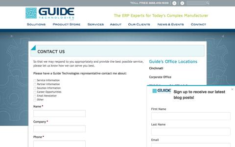 Screenshot of Contact Page guidetechnologies.com - Guide Technologies Contact Guide Technologies - captured May 25, 2017