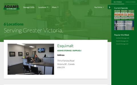 Screenshot of Locations Page adamsstorage.com - Adams Storage – Locations – Storage Solutions for Greater Victoria, BC - captured Oct. 3, 2018