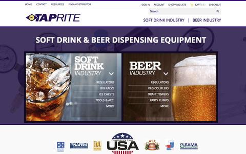 Screenshot of Home Page taprite.com - Taprite - A Preferred Supplier for the Soda and Beer Industries - captured Aug. 17, 2015