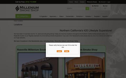 Screenshot of Locations Page shopmillenium.com - Locations - captured Feb. 16, 2016
