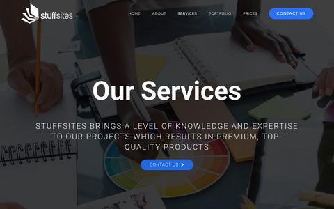 Screenshot of Services Page stuffsites.com - SERVICES - Stuffsites - captured Oct. 20, 2018